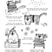Stampers Anonymous Tim Holtz Snarky Cat Christmas Cling Mount Stamp Set CMS416