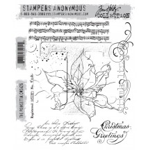Stampers Anonymous Tim Holtz The Poinsettia Christmas Cling Mount Set CMS426
