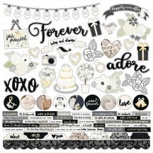 "Simple Stories Always & Forever Wedding 12""x12"" Combo Element & Word Cardstock Stickers 10059"