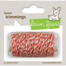 Lawn Fawn Trimmings - Coral & White Hemp Cord - 21 yds / 19.2m LF594