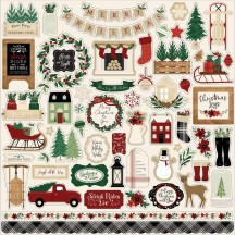"Echo Park A Cozy Christmas 12""x12"" Element Shape Stickers ACC189014"