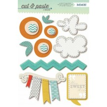 "My Mind's Eye Cut & Paste Charm ""Sweet"" Bits & Pieces Layered Stickers 5"" x 7"" CP1032"