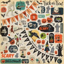 "Carta Bella Happy Halloween 12""x12"" Die-cut Cardstock Element Stickers AL104014"