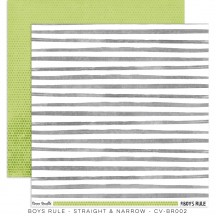"Cocoa Vanilla Boys Rule Straight & Narrow 12""x12"" Double Sided Cardstock BR002"