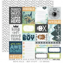 "Cocoa Vanilla Boys Rule Boy Stuff 12""x12"" Double Sided Cardstock BR006"