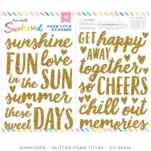 Cocoa Vanilla Studio Sunkissed Gold Glitter Foam Title Stickers SK016
