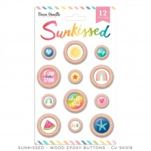 Cocoa Vanilla Studio Sunkissed Wood Epoxy Buttons SK018