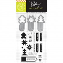 Hero Arts Clearly Kelly Holiday Clips Stamp & Cuts Clear Stamp & Universal Cutting Die Set DC171