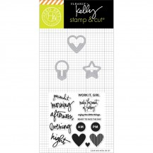 Hero Arts Clearly Kelly Everyday Clips Stamp & Cuts Clear Stamp & Universal Cutting Die Set DC172
