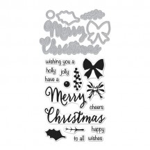 Hero Arts Christmas Trimmings Stamp & Cuts Clear Stamp & Universal Cutting Die Set DC195
