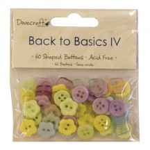 Dovecraft 60 Shaped Buttons - Back To Basics IV - Purple Blue Yellow