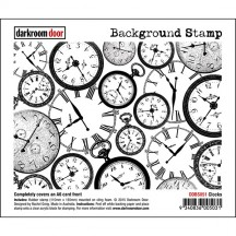 Darkroom Door Clocks Rubber Background Stamp with cling foam - DDBS051