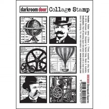 Darkroom Door Steampunk Squares Cling Foam Mounted Rubber Collage Stamp - DDCS030