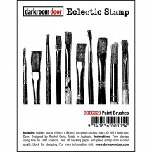 Darkroom Door Paint Brushes Eclectic Cling Rubber Stamp - DDES023