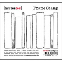 Darkroom Door Cling Foam Mounted Rubber Frame Stamp - Book Spines DDFR031