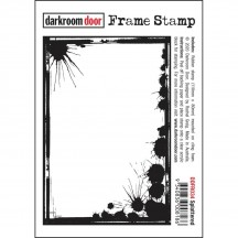 Darkroom Door Cling Foam Mounted Rubber Frame Stamp - Splattered DDFR034