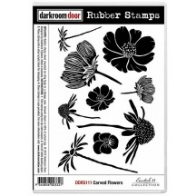 Darkroom Door Cling Foam Mounted Rubber Stamps - Carved Flowers DDRS111