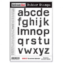 Darkroom Door Scratched Alphabet Cling Foam Mounted Rubber Stamps DDRS127