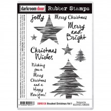 Darkroom Door Brushed Christmas Volume 1 Cling Mounted Rubber Art Stamps DDRS135