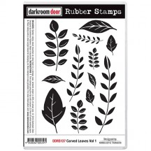 Darkroom Door Carved Leaves Vol 1 Cling Mounted Rubber Stamps DDRS137