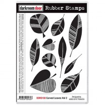Darkroom Door Carved Leaves Vol 2 Cling Mounted Rubber Stamps DDRS138