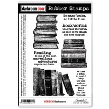 Darkroom Door Cling Mounted Rubber Art Stamps - Bookworm DDRS139