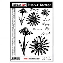 Darkroom Door Cling Mounted Rubber Art Stamps - Brushed Daisies DDRS147