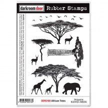 Darkroom Door African Trees Cling Mounted Rubber Stamps DDRS168
