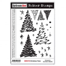 Darkroom Door Christmas Trees Cling Mounted Rubber Art Stamps - DDRS170