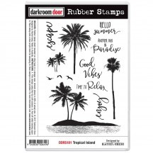 Darkroom Door Tropical Island Cling Foam Mounted Rubber Stamps - DDRS181