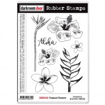 Darkroom Door Tropical Flowers Cling Foam Mounted Rubber Stamps - DDRS182