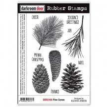 Darkroom Door Pine Cones Cling Foam Mounted Rubber Stamps DDRS196