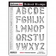 Darkroom Door Sketched Alphabet Cling Foam Mounted Rubber Stamps DDRS214