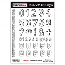 Darkroom Door Sketched Numbers Cling Foam Mounted Rubber Stamps DDRS218