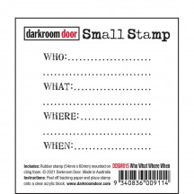 Darkroom Door Who What Where When Small Cling Rubber Stamp DDSM015