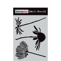 "Darkroom Door Carved Flowers 4.5""x6"" Small Stencil DDSS025"