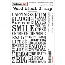 Darkroom Door Smile Word Block Cling Foam Rubber Mounted Stamp DDWB009