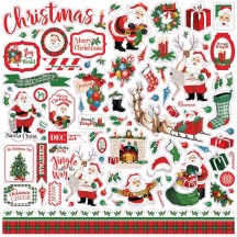 "Carta Bella Dear Santa Christmas 12""x12"" Die-cut Cardstock Element Stickers DE125014"