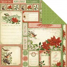 """Graphic 45 Time To Flourish Double-sided 12""""x12"""" Open Cardstock - December Cut Aparts 4501051"""