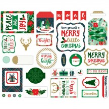 Echo Park Deck The Halls Ephemera Die Cut Christmas  Cardstock Pieces DH116024