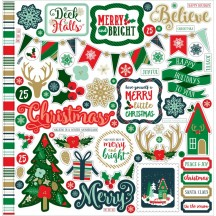"Echo Park Deck The Halls 12""x12"" Christmas Element Shape Stickers DH116014"