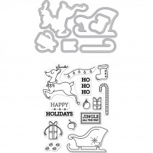 Hero Arts Jingle All The Way Stamp & Cuts Clear Christmas Stamp & Universal Cutting Die Set DC216