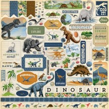 "Carta Bella Dinosaurs 12""x12"" Die-cut Cardstock Element Stickers DI110014"
