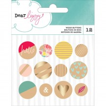 American Crafts Dear Lizzy Documentary Wood Button Embellishments 340207
