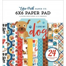 "Echo Park I Love My Dog 6""x6"" Double-Sided Paper Pad 24 Sheets LMD198023"