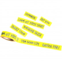 Freckled Fawn Yellow Doodle Phrase Designer Washi Tape