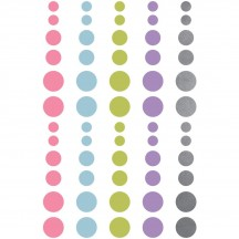 Simple Stories Enchanted Enamel Dots - pink, blue, green, purple, silver glitter 4431