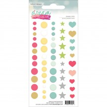 Webster's Pages Dream in Color Enamel Dots - pink, yellow, aqua, grey, green, gold glitter DOT01