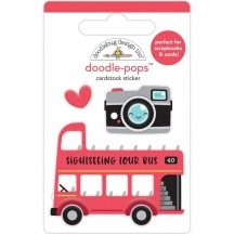 Doodlebug I Heart Travel Double Decker Doodle-Pops Dimensional Sticker 6357