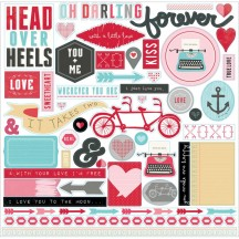 "Echo Park Head Over Heels Valentine 12""x12"" Element Shape Stickers HOH59014"